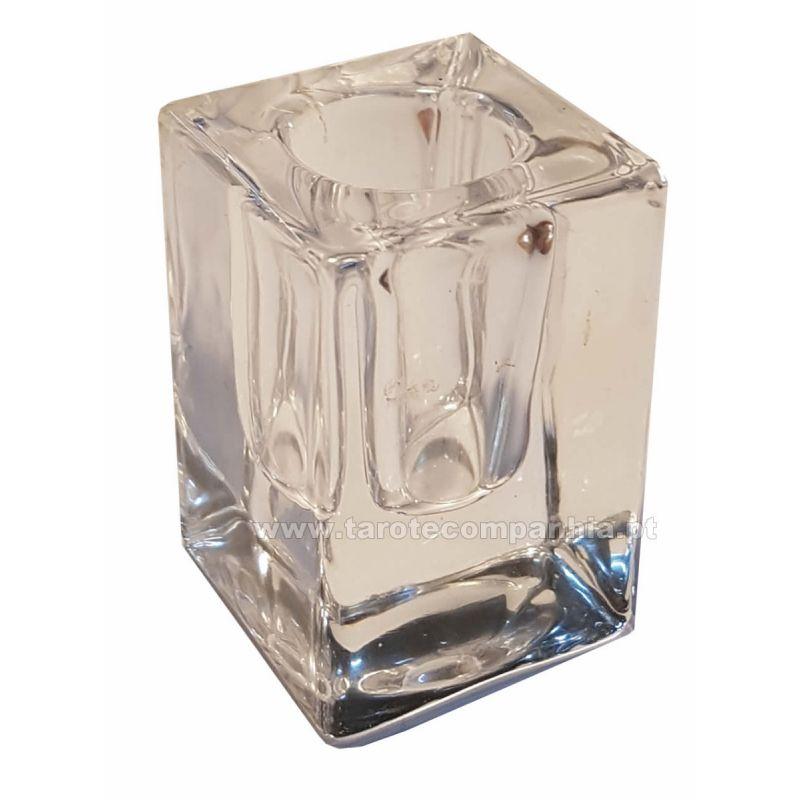 Suporte de vela em vidro transparente